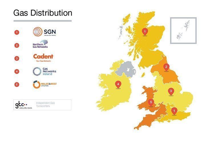 gas supplier network on a map