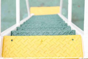 yellow and green steps going down