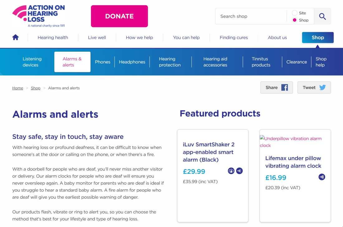 website shop for action on hearing loss