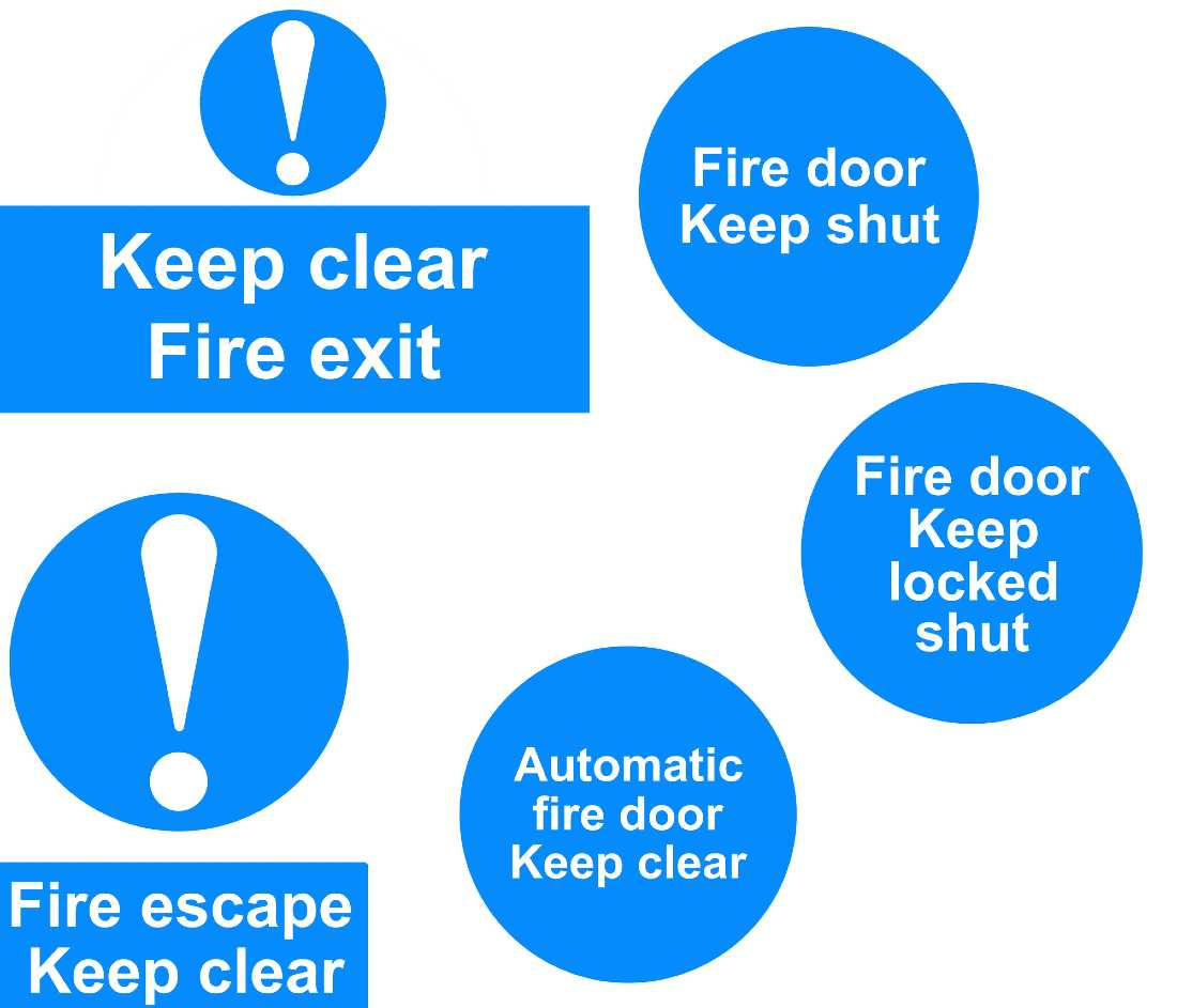 lots of fire signage, mostly in blue