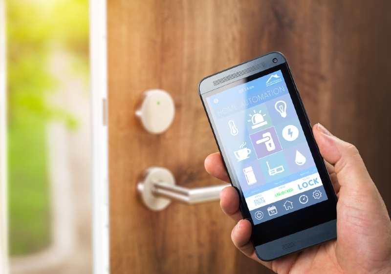 smartphone app opening a door
