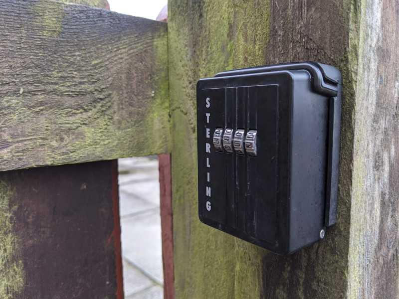 sterling lockbox on a gate