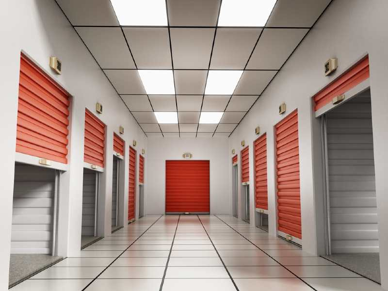 self storage units with red shutters
