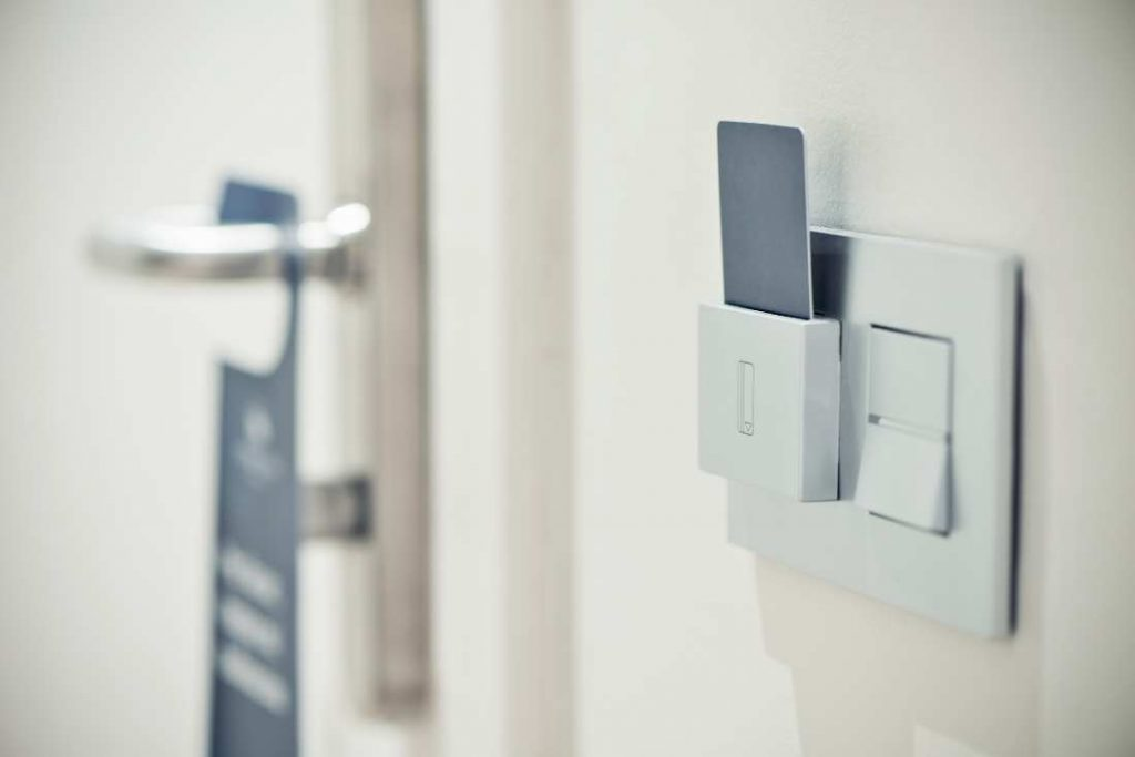 hotel card key in lighting area
