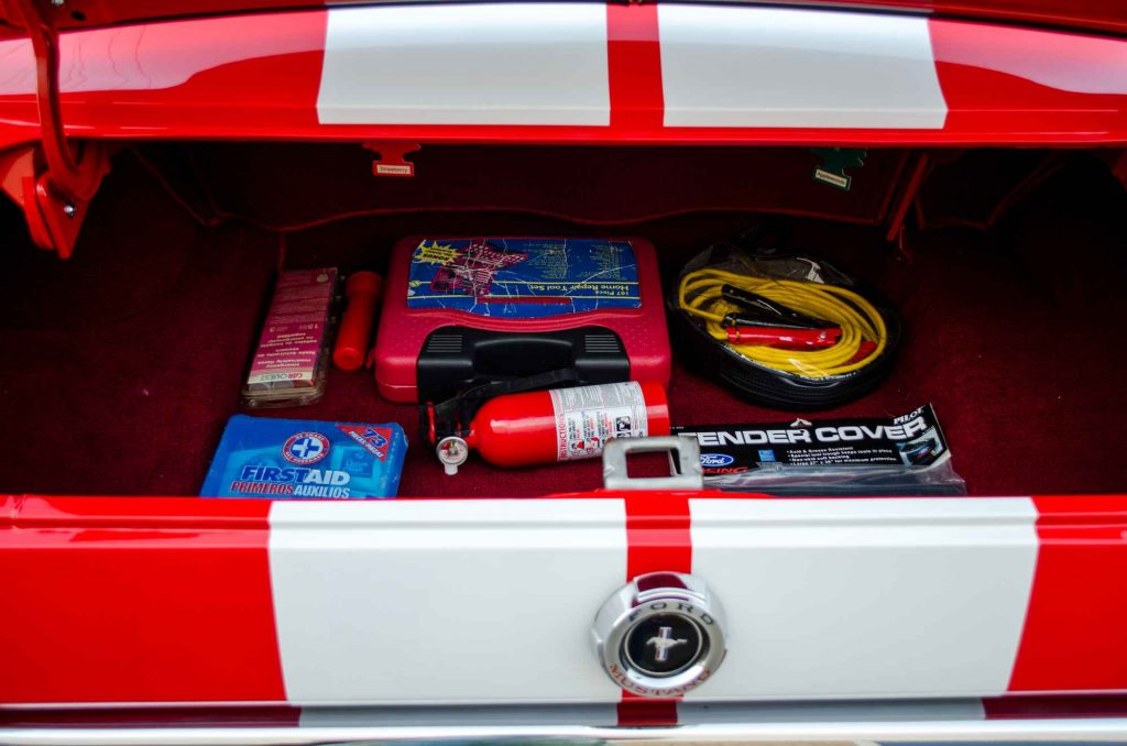 emergency kit in boot of car