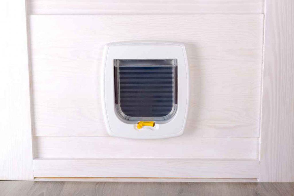 White plastic pet door
