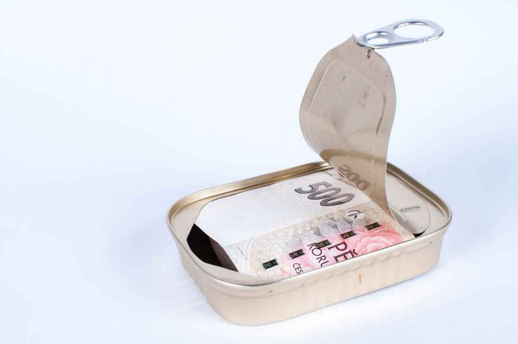 Opened fish can with czech money on white background